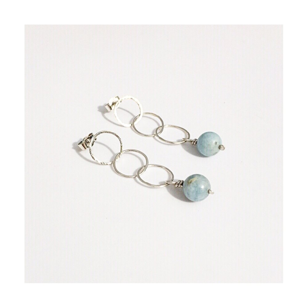 Sterling silver & Aquamarine hoop drop earrings with hammered detailing   For a Daughter-in-Law Norfolk, UK