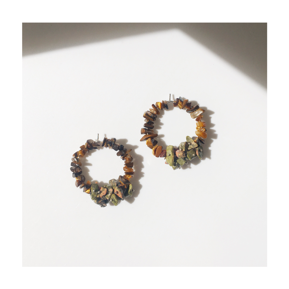 Tiger's Eye & Unakite Jasper Hoop Earrings, for new beginnings and following one's heart   Birthday gift, for a Sister Norfolk, UK
