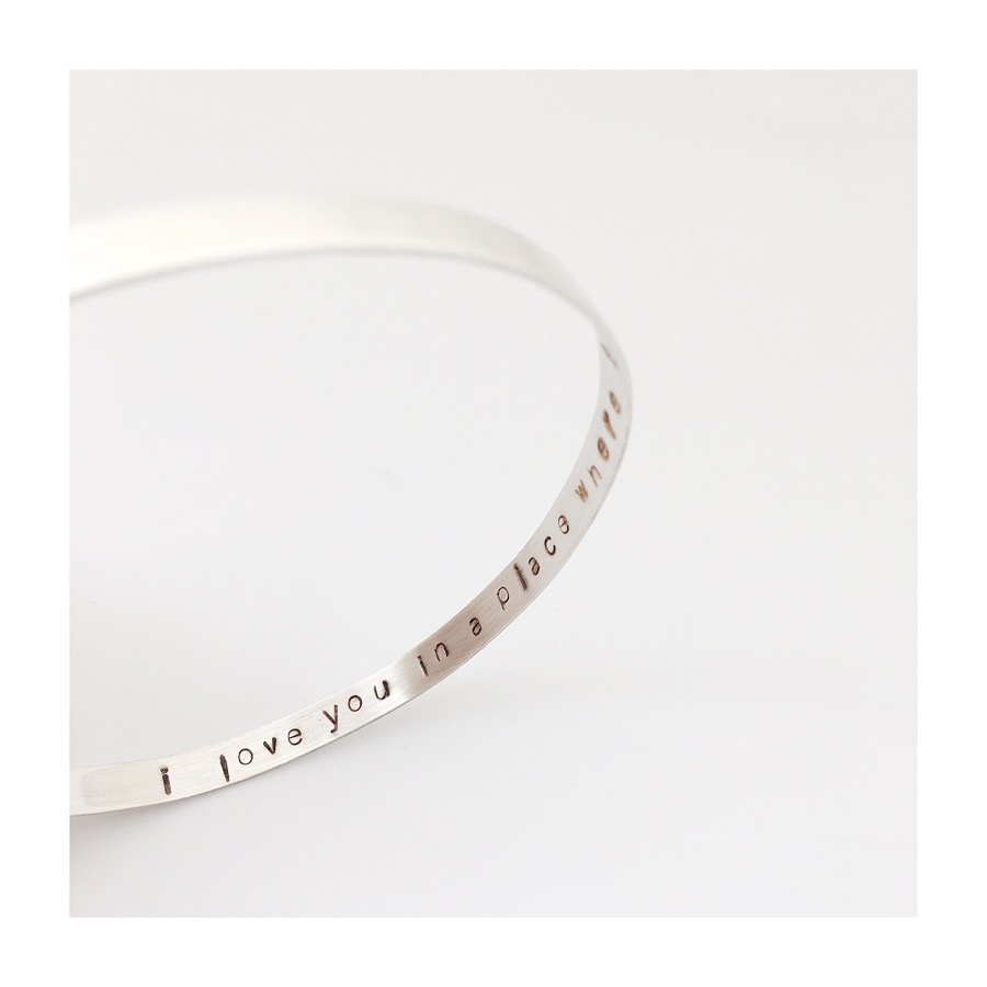"""Personal Message Sterling Silver Bracelet """"I love you in a place where there is no space or time..."""" Ray Charles   For a Girlfriend London, UK"""