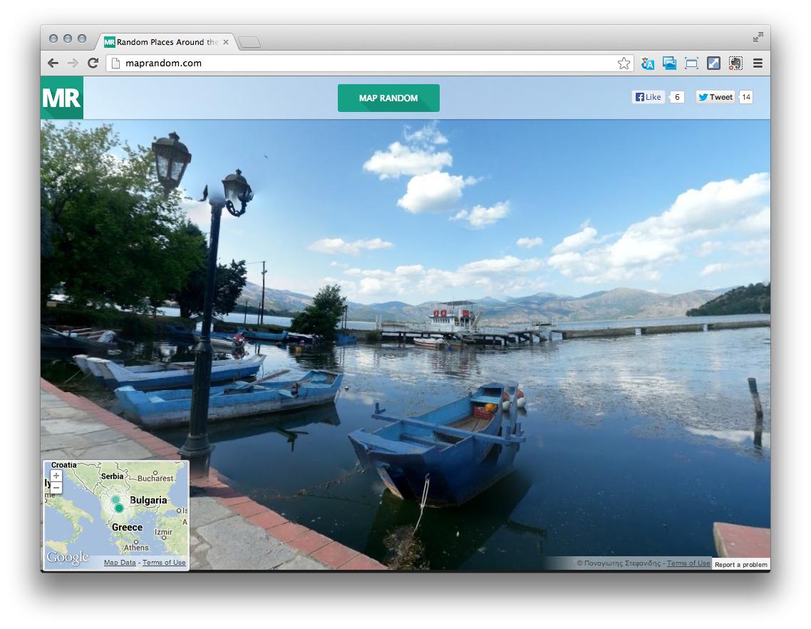 Random places around the world. A good way to find some travel inspiration http://maprandom.com/