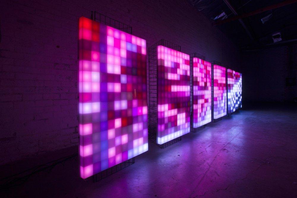 Digital Canvas Installation - Hand built configurable plexiglass walls.