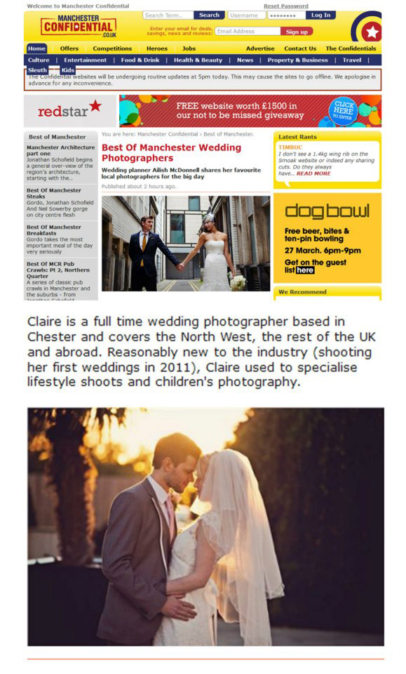 Manchester Confidential — Best of Manchester Wedding Photographers — Mar 2013