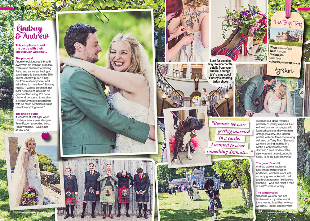 Wedding Ideas — 6 Page Spread; Lindsey & Andrew's wedding at Culzean Castle Scotland — Jun 2014