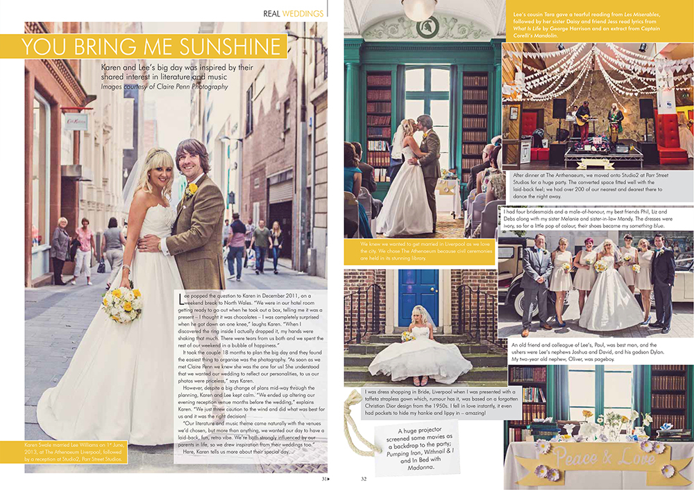 Your Merseyside Wedding Magazine — 6 Page Spread; Karen & Lee's Liverpool Wedding — Jan Feb 2014
