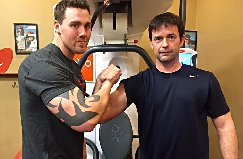Sean and Cascade Koko Member, Scott Baweja hitting a workout together