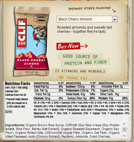 Label for a Clif bar, notice that the first ingredient is syrup (aka sugar)