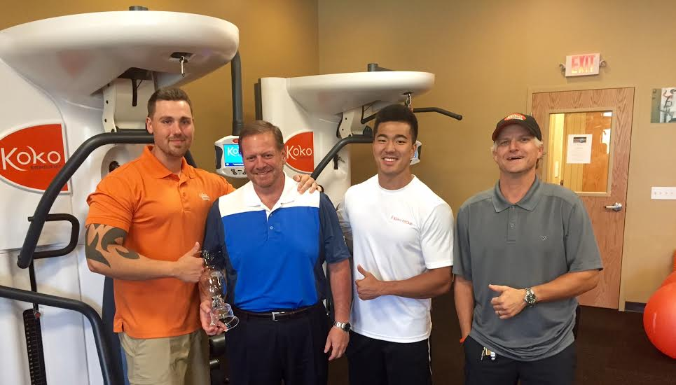-Member David Montgomery holding his Thousand Oaks Golf Tournament trophy after several months of physical preparation at Koko FitClub. Featured along side myself, Master Fit Coach Ben Miller, and Koko FitClub Owner Randall Wysong-