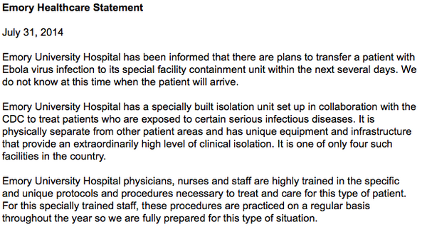 Official statement from Emory Healthcare.