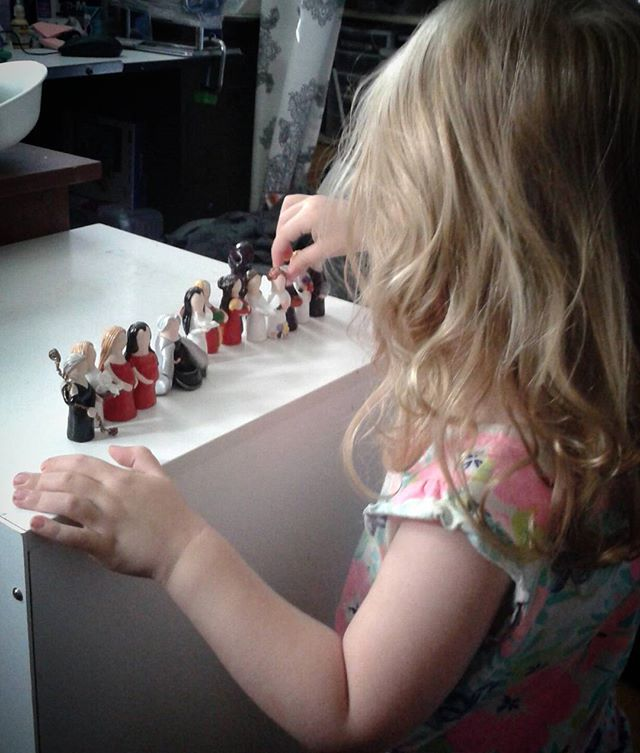 My little studio assistant. Making sure all the mini goddesses are lined up for pictures. #workworkwork #littleassistant #mysticsageshop