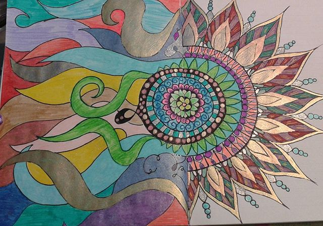 Techocolor mandala. Enjoyed pulling out my pretty gel pens and markers for this one. #artjournal #artismeditative