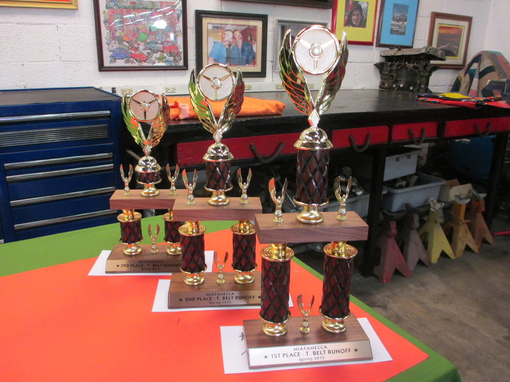 003 trophies for the winners of the timing belt installation competition 3-28-15