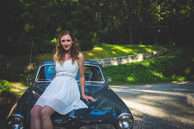 If someone told me this was the last shoot I would ever have, I would not cry. . . . . #ncphotographer #vintage #bridalshoot #bridetobe #vintagevolvo #antiquecar #summer #sassy #mcdowellphotographyproject #redlips #goldenhour #carrierhouse #wnc