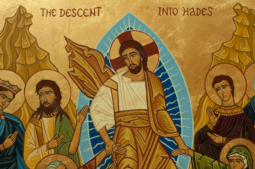 """The Descent into Hades"" - a detail of a painting  of the Eastern Orthodox faith  depicting Jesus."