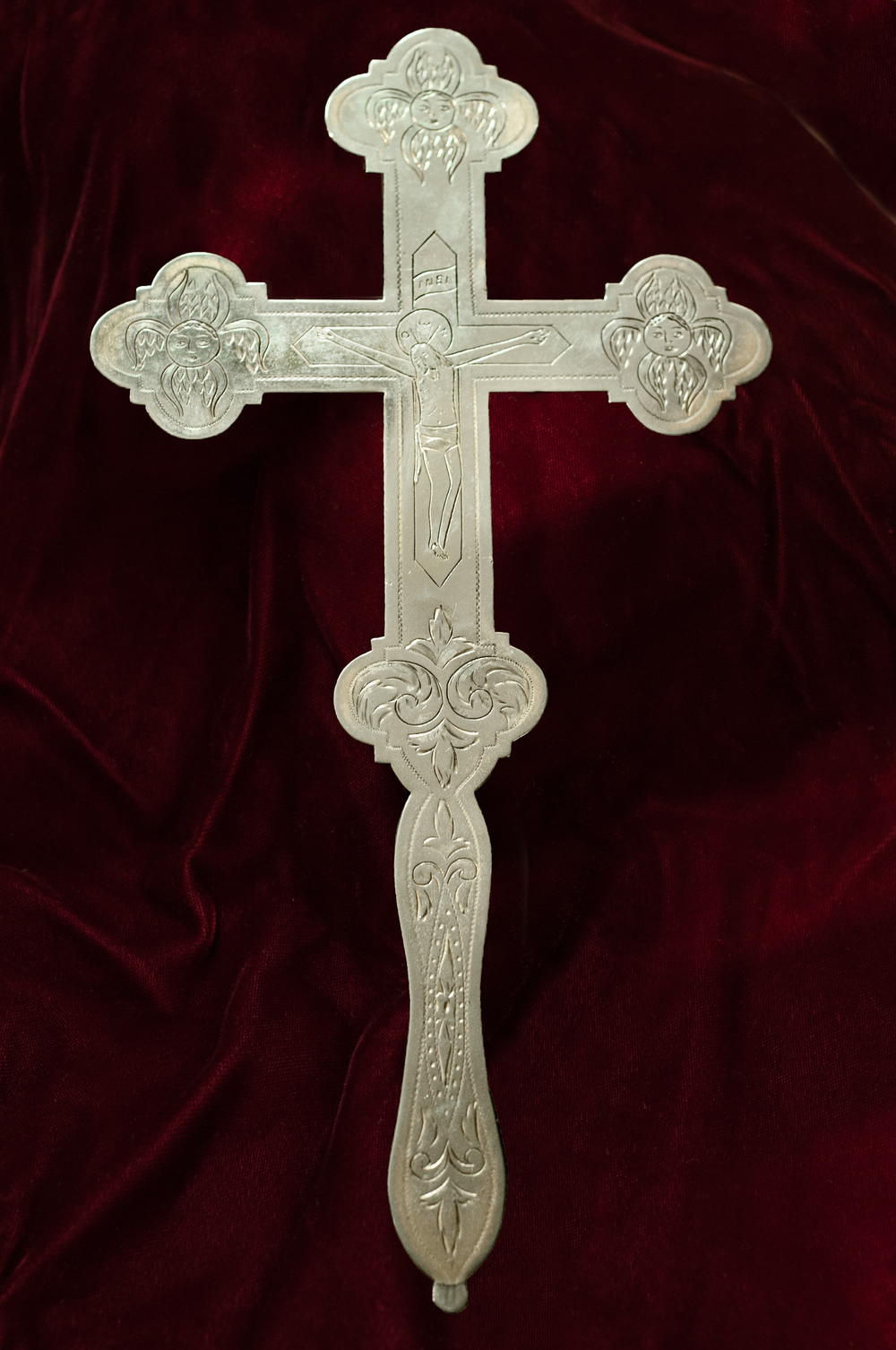 Silver cross in the tradition of the Eastern Orthodox Church.