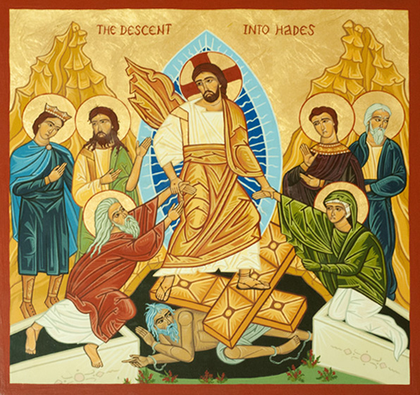 """Painting of """"Christ's descent into Hades"""" illustrating Jesus' journey after his death."""