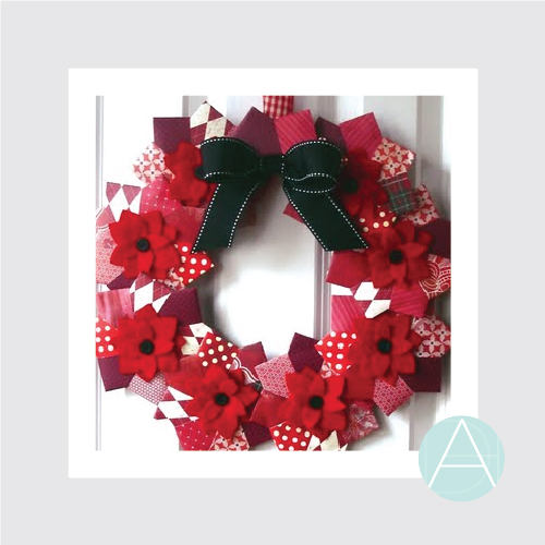 Origami Poinsettia Wreath