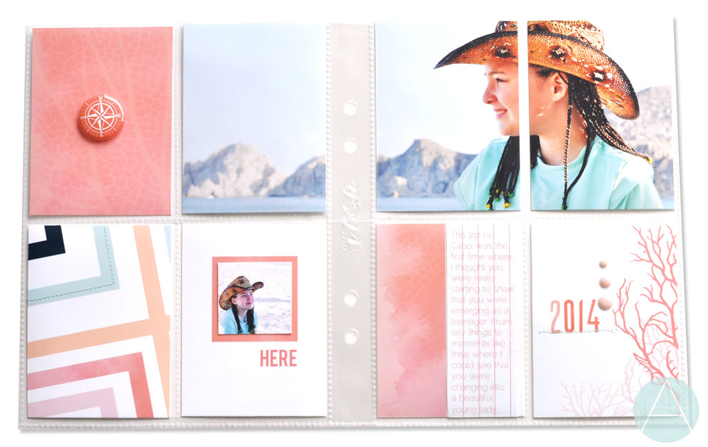 "This is a quick 9x6"" pocket page spread I created using the 3x4' cards in the  seaspray  collection."