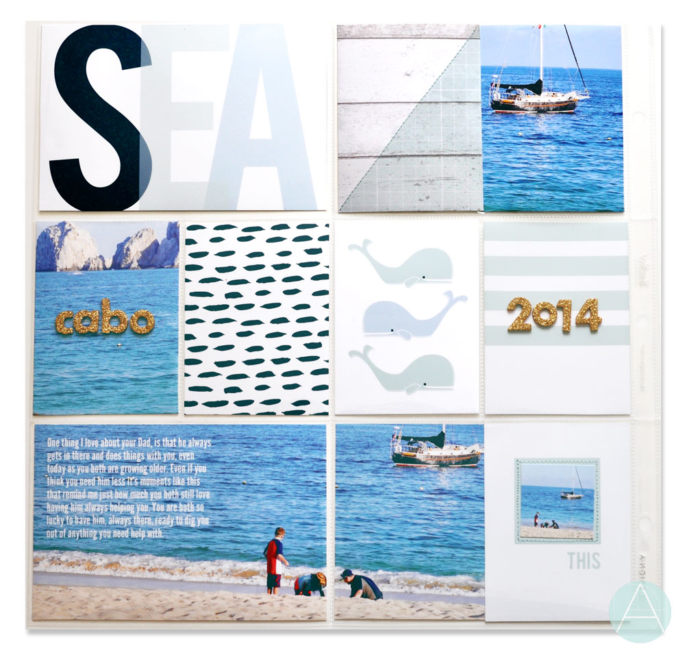 "Here is a sample of a 12x12"" pocket page using both the 3x4"" and 4x6"" cards from SEASPRAY."