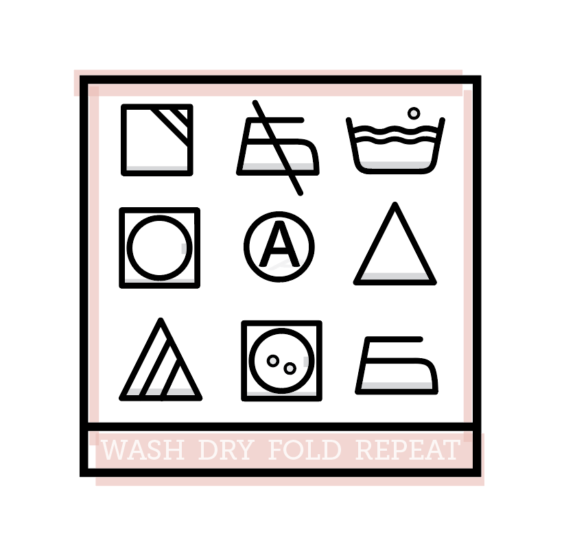 Icon Study | I've always loved the simplicity of laundry icons. I have never known what in the world they've meant - but as icons, I've always been intrigued. I decided to put my own little twist on some laundry icons for my laundry room. This was a first go. I think I need to expand on this to make a full on poster with a key underneath each icon, so it can be practical as well as lovely in my room.