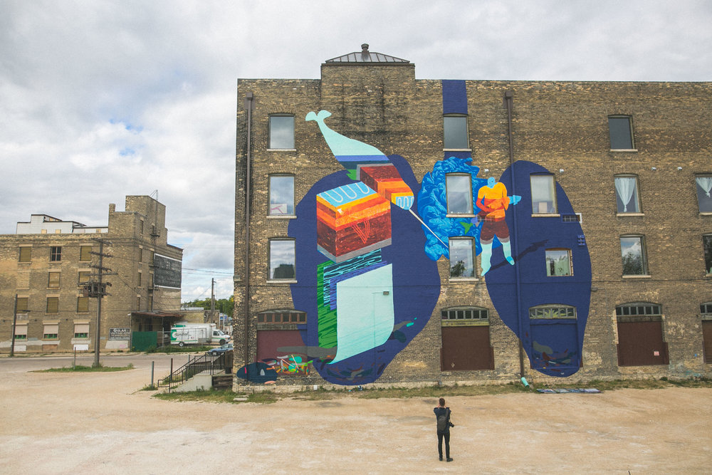 Aqua Lungs, with Parr Josephee, Photo Courtesy of Joseph Visser and Synonym Art Consultation, Wall-to-Wall Festival 2016, Winnipeg