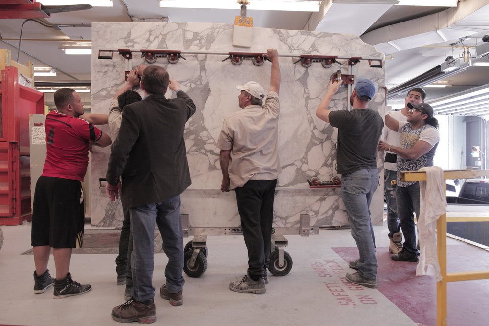 Crown Marble delivers 2 slabs of Calacatta polished marble to the Art Gallery of Ontario.