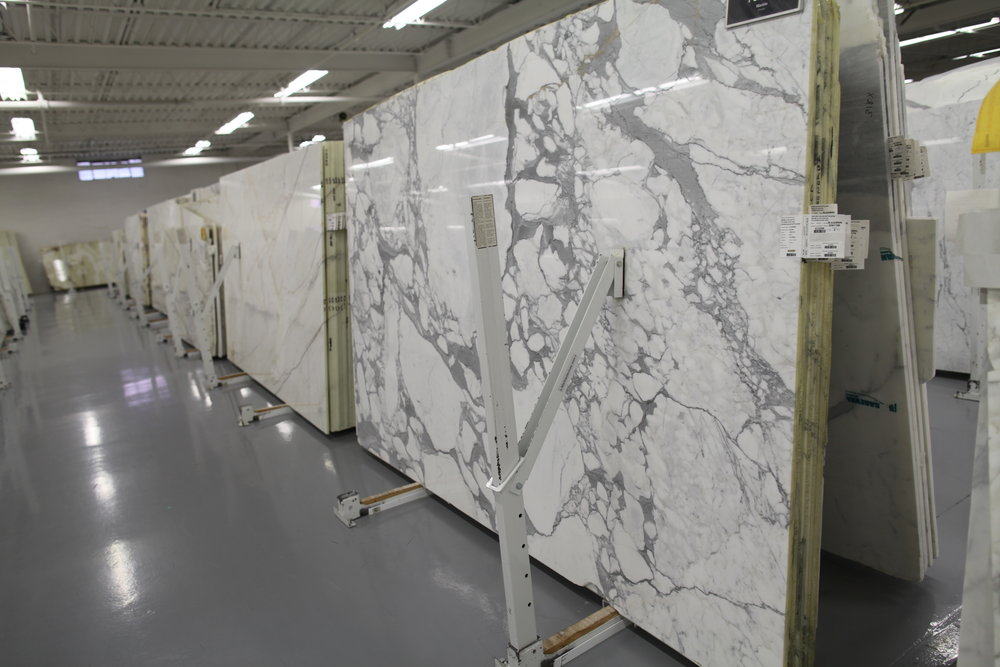 Calacatta marble at Olympia Tile & Slab.