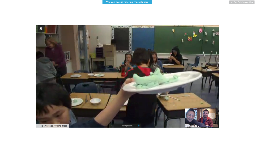 Playdough snowmobile making at Sam Pudlat Elementary School over the Cisco Telepresence System c/o Connected North.