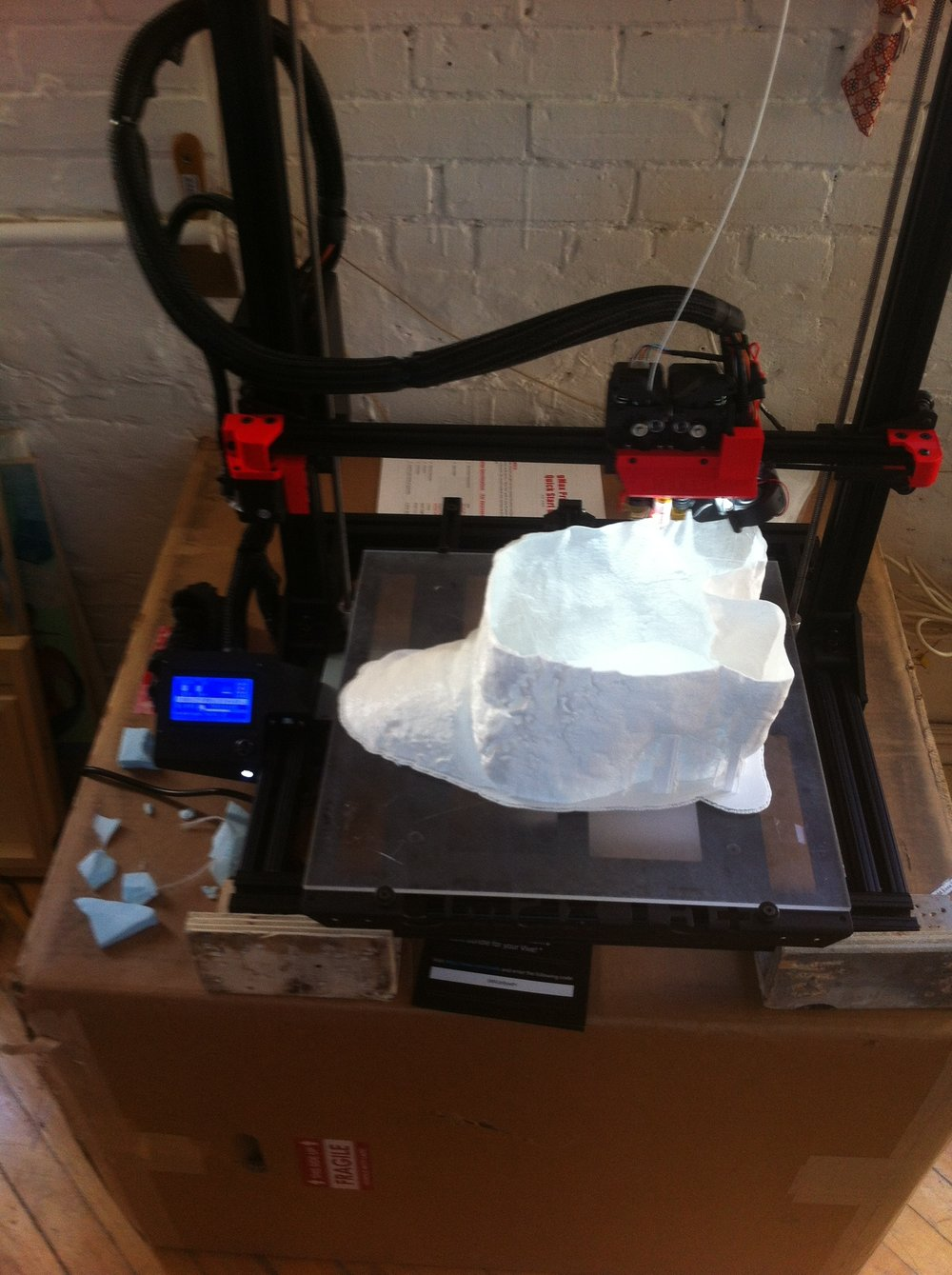 "3D printing sections of a 22"" version of Janice Allooloo's snowmobile in PLA filament on the GMAX+."