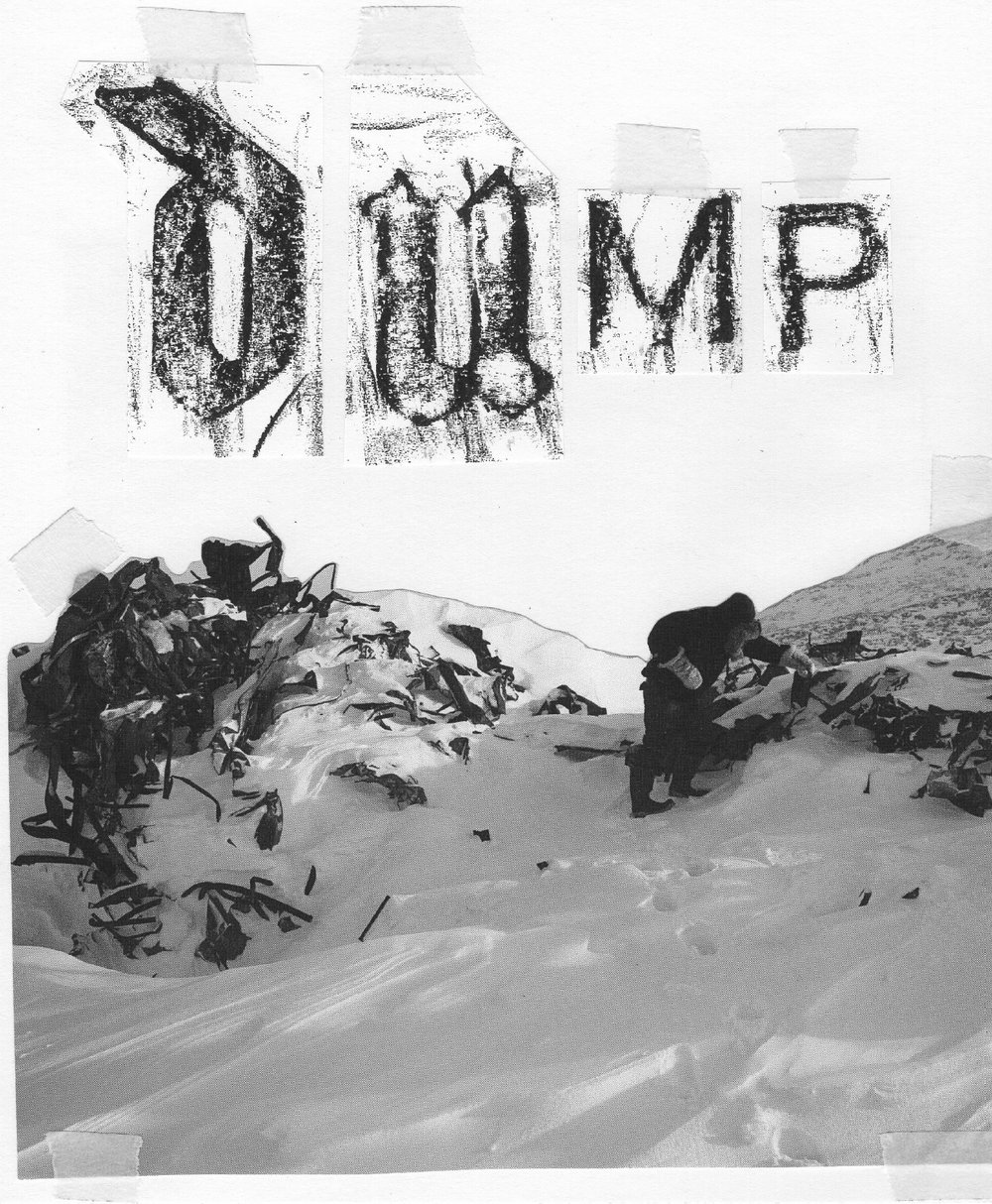 Collecting metal from the remains of Peter Pitseolak High School at the Cape Dorset dump (Image from book 'Towards Something New & Beautiful + Future Snowmachines in Kinngait).