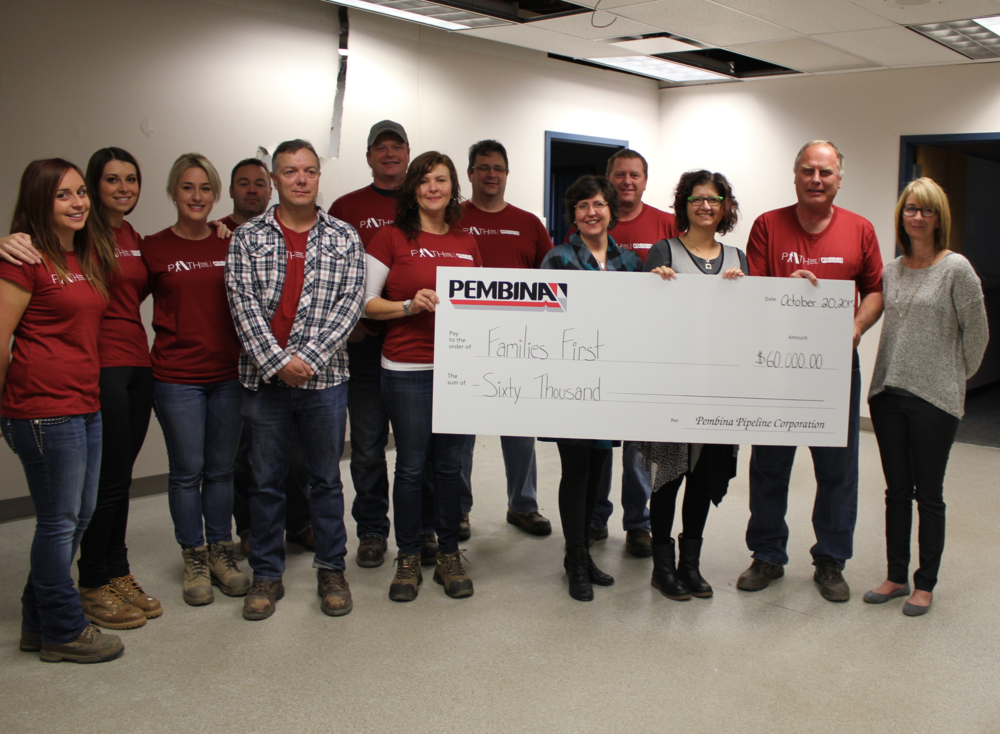Pembina Pipelines donates $60,000 as a crew showed up to volunteer for the demo of the old RCMP building.