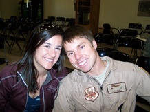 Joel and his wife the day he deployed.