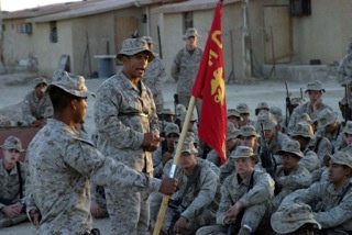 Ray addressing his Marines.
