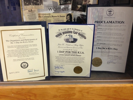 Thank you Senator Sherrod Brown, Governor John Kasich, and Mayor Michael Coleman for recognizing 1 Day for the K.I.A.!