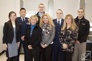 Members of the 1DK team posing with the McGouldrick sisters at the memorial ceremony of Col. Francis J. McGouldrick. The service, which served as the local recognition ceremony of the repatriation of his remains, took place at the ROTC building on OSU's campus in January 2014. Photo courtesy of Jeff Glasser.