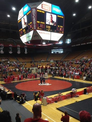 Maj. Ray Mendoza's brothers being recognized at the 2014 OSU Military Appreciation Wrestling Meet. Maj. Ray Mendoza is an OSU graduate and former OSU wrestler who was killed in action in Iraq, 2005. Read more about Maj. Mendoza in our virtual Memorial.