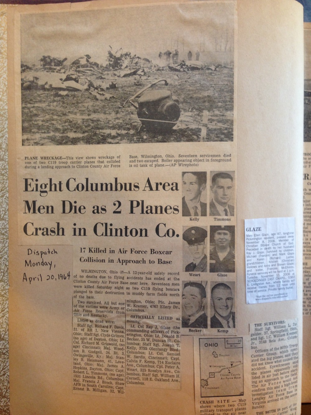Newspaper clipping of Tim's accident.