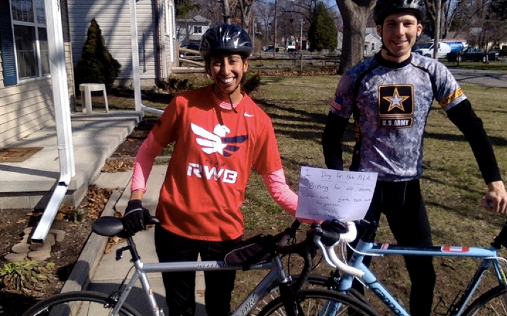 "Ryan and Mia Leone, from Toledo, Ohio biking 20 miles on this beautiful morning! -- ""We biked for all those who are gone but never forgotten. Thank you to all who protect and serve our country and their families, race participants and supporters near and far, and those who helped put on this amazing event. You are wonderful gracious people!"""