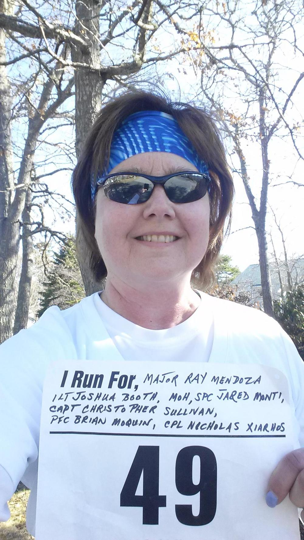 "Jo Ann and Andrew Bauer (not pictured), making their contributions in Fredericksburg, VA. As a Blue to Gold Liason for Central and Western Massachusetts, she has had the honor and privilege of meeting many Gold Star Families. -- ""My total miles 14.1; each mile holding a specific memory to each brave soul and their families."" Major Ray Mendoza, USMC 1LT Joshua Booth, USMC MOH, SPC Jared Monti, USA Capt Christopher Sullivan, USA Pfc Brian Moquin, USA Cpl Nicholas Xiarhos, USMC"