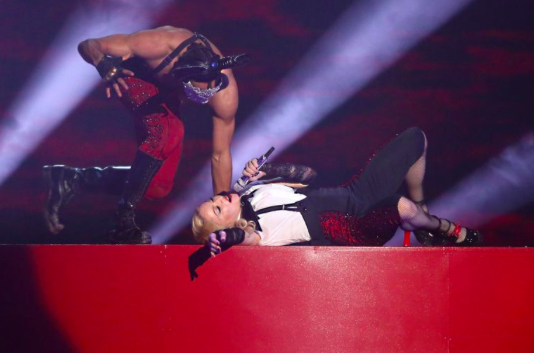 Madonna recovers after her close call on national TV... (Picture Getty)