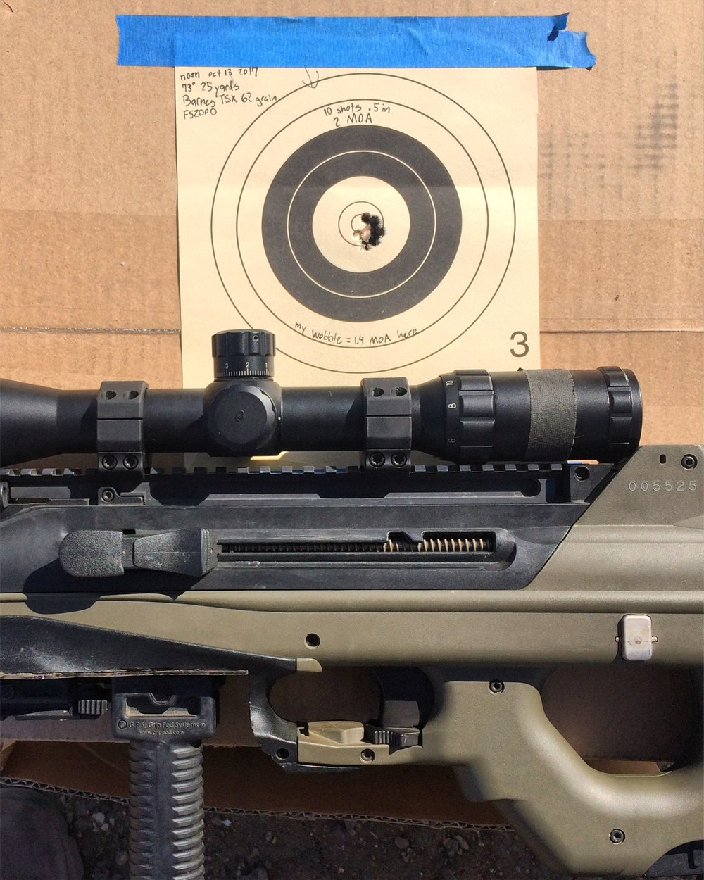 Two years into the FS2000 accurization project and we've plateaued at about 1.8 MOA. Not bad.
