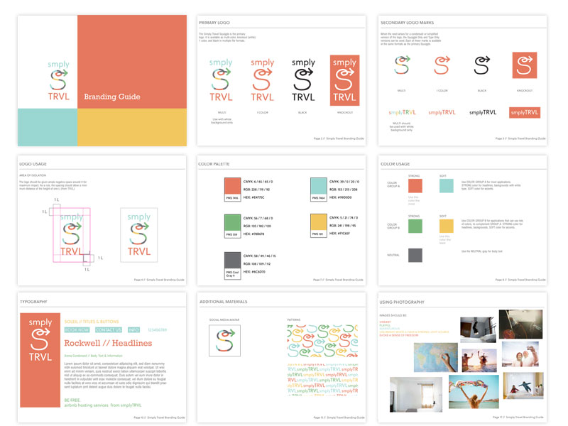 Sample Pages from the SmplyTRVL Branding Guide