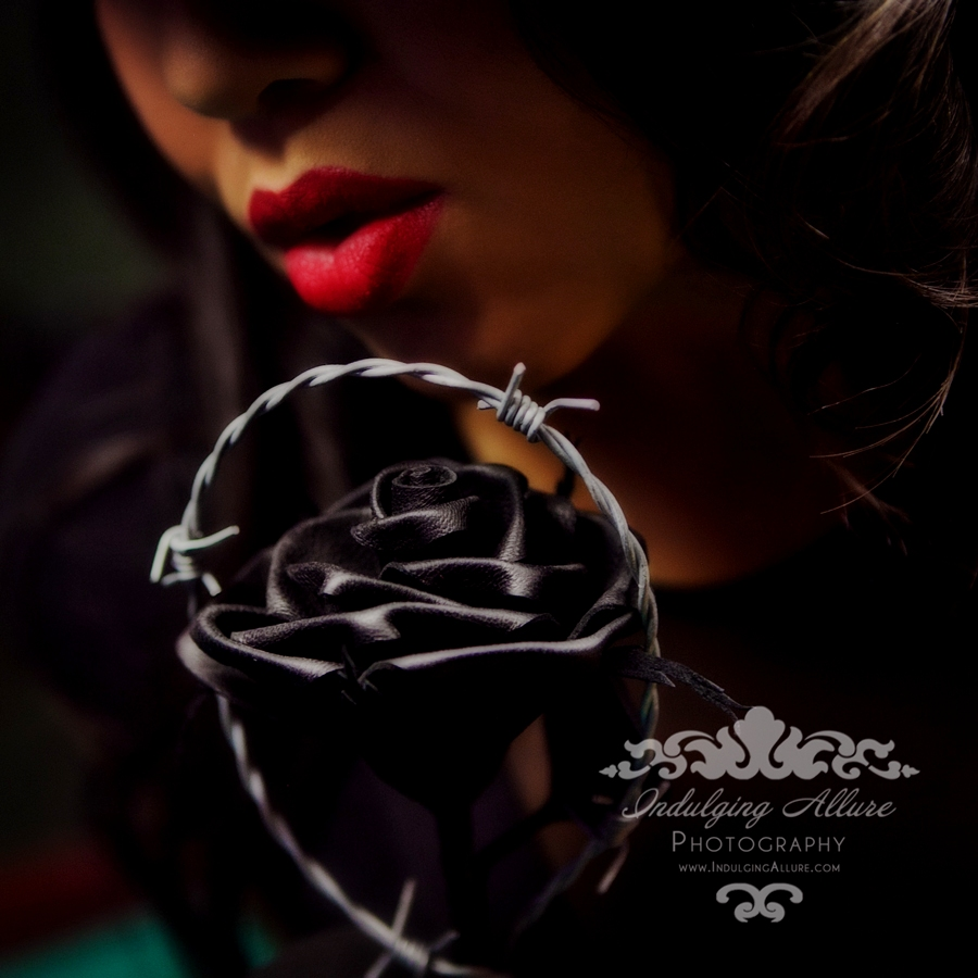 Black Leather Barbed Wire Rose_Tamara Young_Indulging Allure Photography