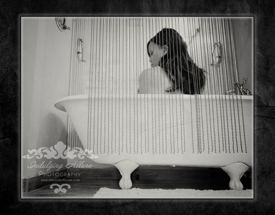 Black & White girl in clawfoot tub by Indulging Allure Photography
