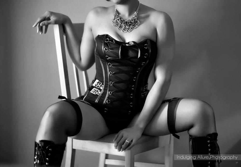 Black and White bold boudoir photo corset