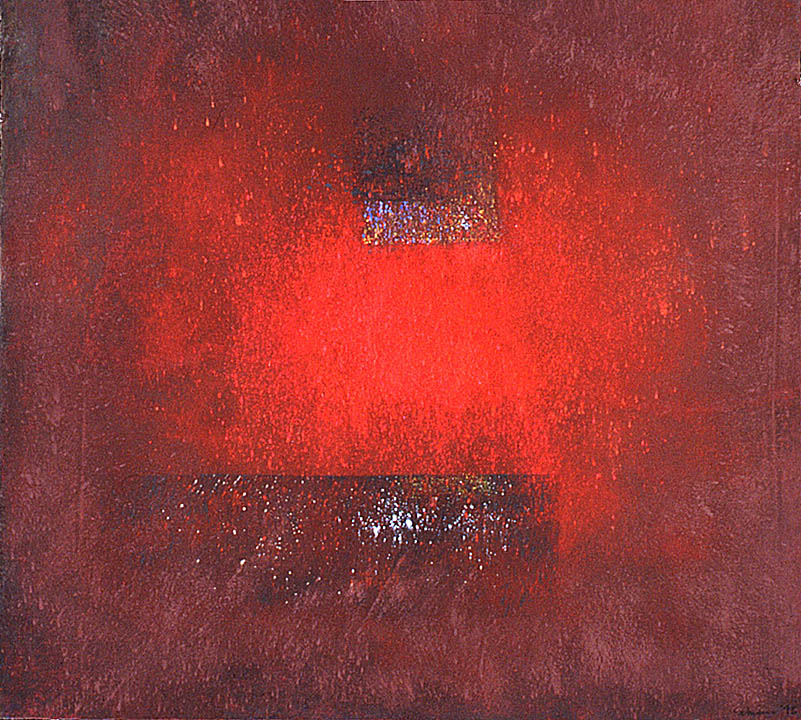 "Split red moon (for Andy)---dry pigment on mi tientes----33.5"" x 37.5"""