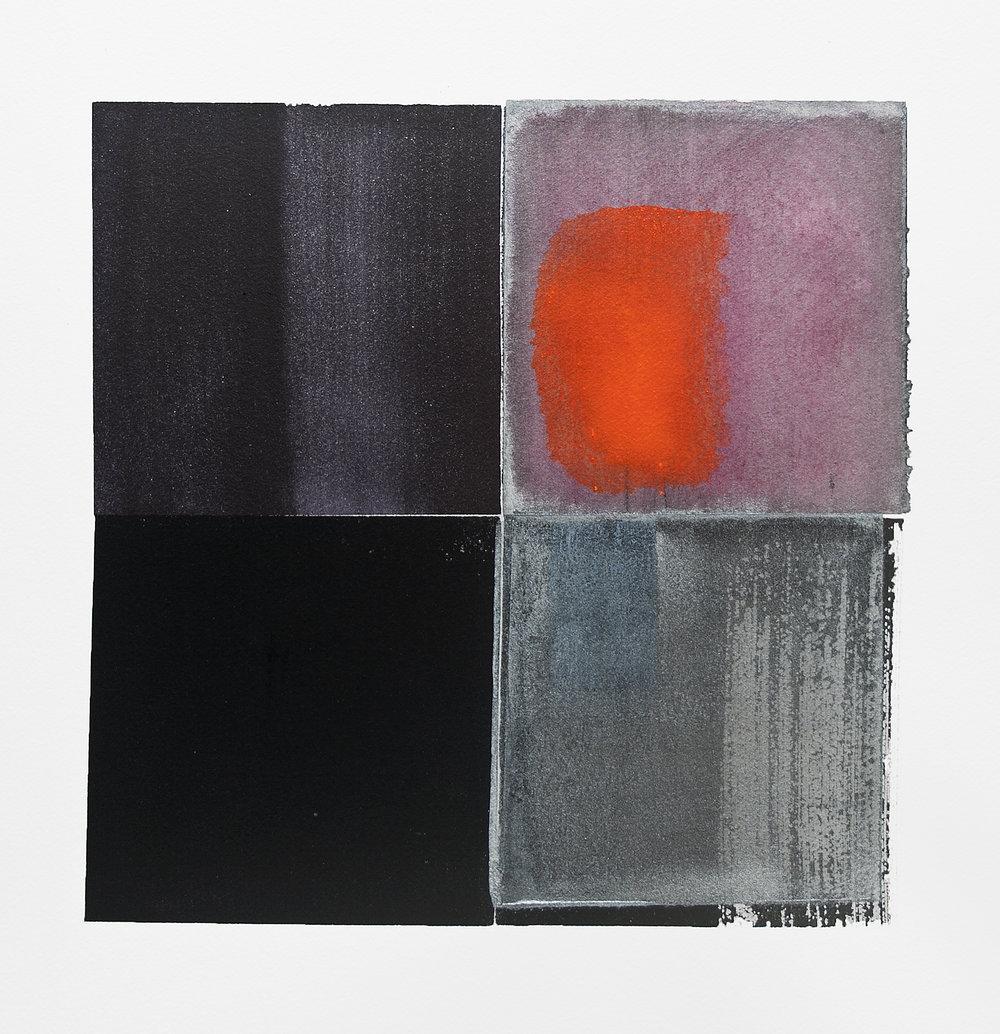 "split red moon over a frozen landscape---w/c on Fabriano Artistico---10.75"" x 10.25"""