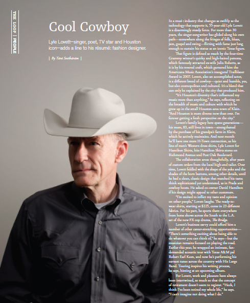 Cool Cowboy: Lyle Lovett  Houston magazine - August 2013