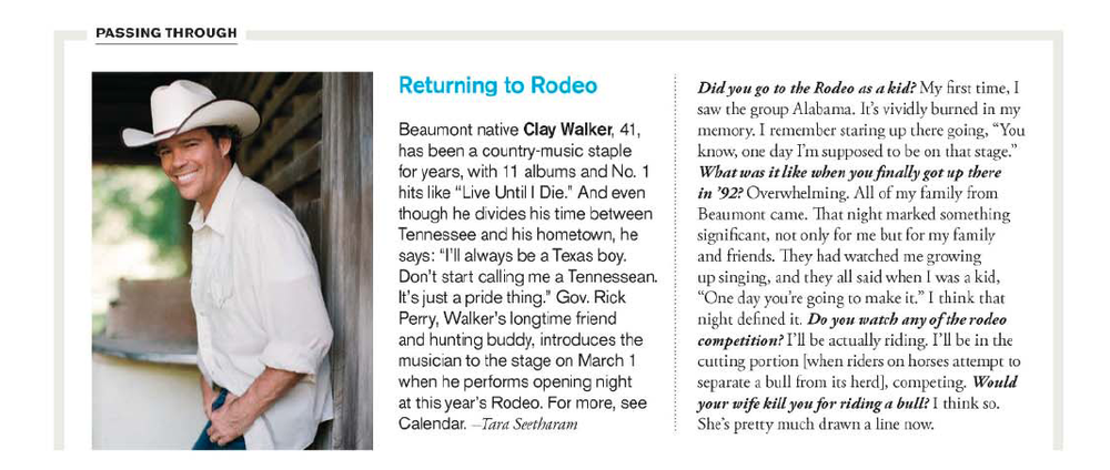 Q&A with Clay Walker Houston magazine - March 2011