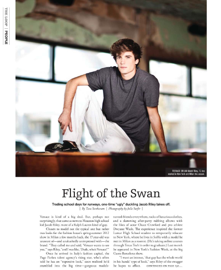 Flight of the Swan: Jacob Riley  Houston magazine - October 2011
