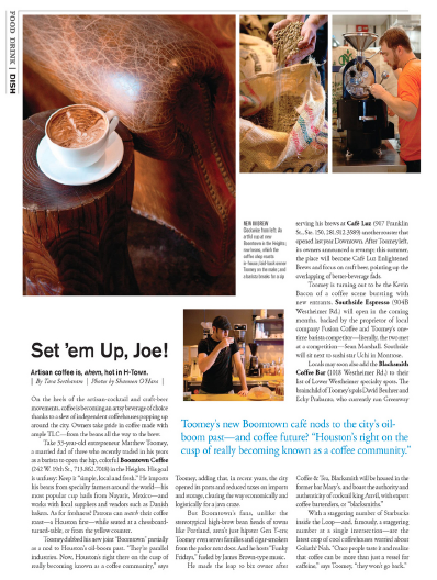 Set 'em Up Joe: Houston Craft Coffee Trend Houston magazine - July 2012